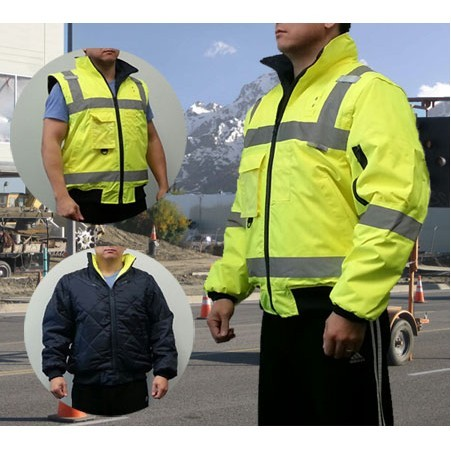 Promotional Reversible Bomber Safety Jacket 3 In 1 Creatively Promotes Workplace Safety