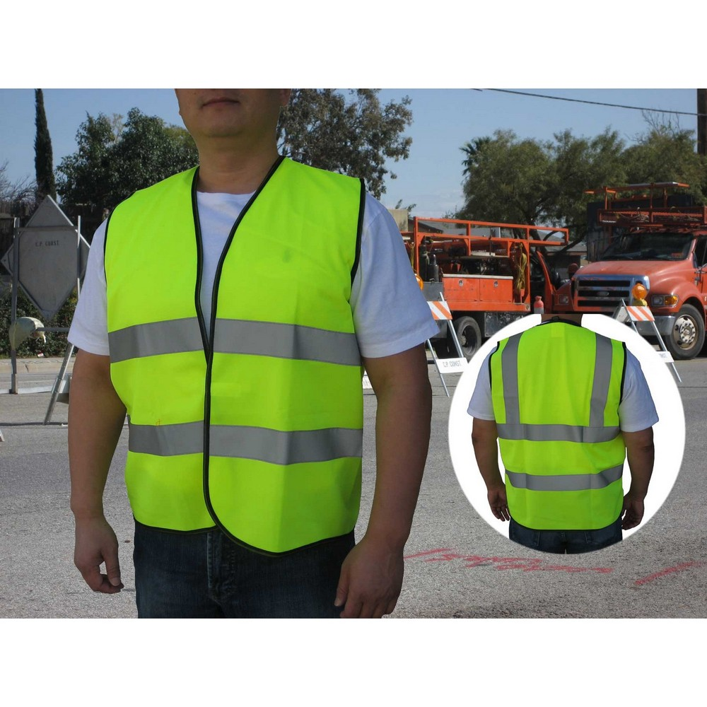 Promotional ANSI/ISEA 107-2004, Class 2 Neon Green Safety Vest Provides the Best in Wearable Safety Vests