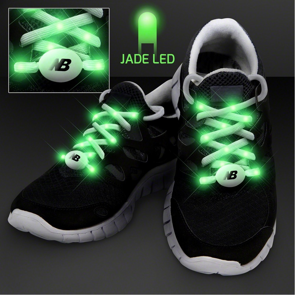 Custom Jade Light Up Shoelaces for Night Runs Keeps Joggers Safe at Night